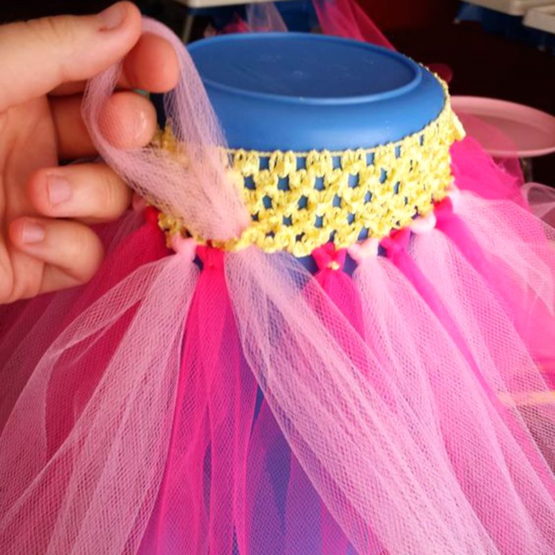 Fengrise 11 Pieces Crochet Headband Baby Shower Tulle Spool Tutu