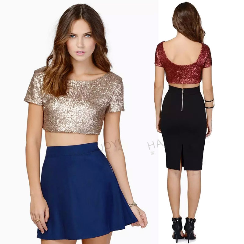 763c8fe992609a Online Shop XXL Luxury Sequin Ladies Short Sleeve Shiny Crop Top Women Boat  Neck Fitted Short Tops Woman Open Low Back T-shirt Black Sliver