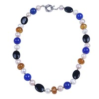 Multi Color Natural Soapstone And Gagte Necklace Real Pearl Chocker Necklace Fashion Jewellery For Women Holiday