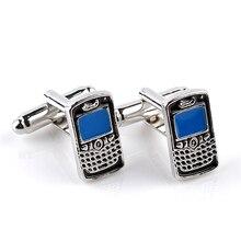 все цены на Hot New Creative Zinc Alloy Cufflinks Fashion Phone Model Men Shirt/Blouse French Cufflinks DIY Jewelry For Him High-grade Blue онлайн