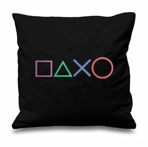 65eb222997 Projeto Da Arte negra Botões de Playstation Jogos Novidade Decorativa Throw  Pillow Caso Capa de Almofada