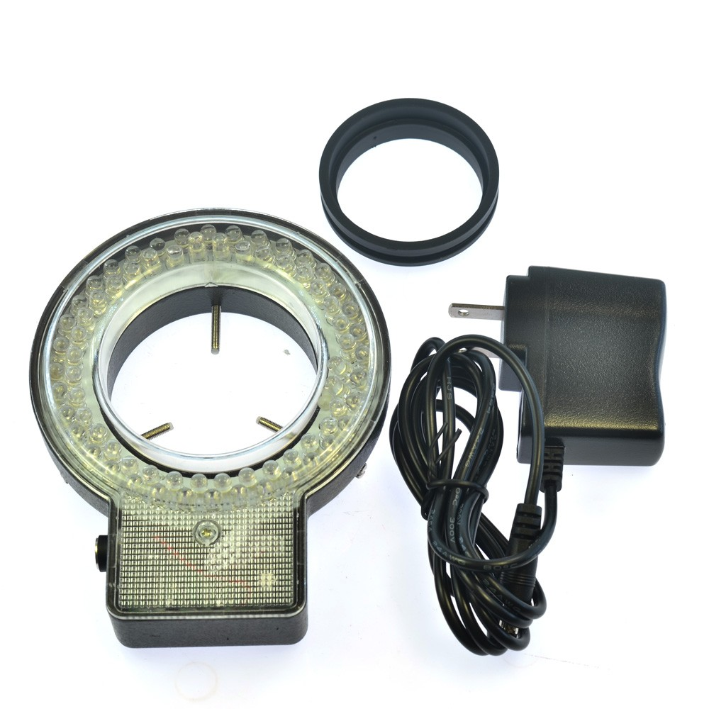 4 Sections Control 72 White LED Light Source Industrial Microscope Ring Light Lamp Illuminator with Adapter 110V-220V 60pc green led microscope light source stereo microscope ring light lamp with adapter 220v or 110v