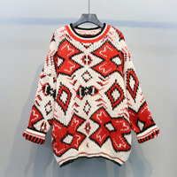 O Neck Women Long Sweater Female Winter Autumn Loose Thicken Knitted Pullovers Outwears All Match Tops