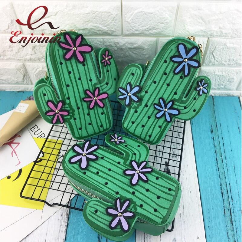 Mignon personnalité vert cactus forme broderie fleurs mini épaule de la chaîne sac dames sac à main flap sac à main bandoulière messenger sac