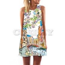 CUERLY 2019 New Design Short Beach Dress Women Digital 3D Print Casual Bohomian Sleeveless O-neck Summer