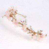 Korean pink flower powder long arm hairband crown crystal hair jewelry headdress hair ornaments wedding hair accessories