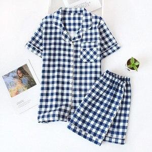 Image 3 - 夏新男性と女性パジャマセットなスタイルのチェック柄の快適な綿のパジャマセット半袖 + ショーツホームウェアカジュアルウェア着用