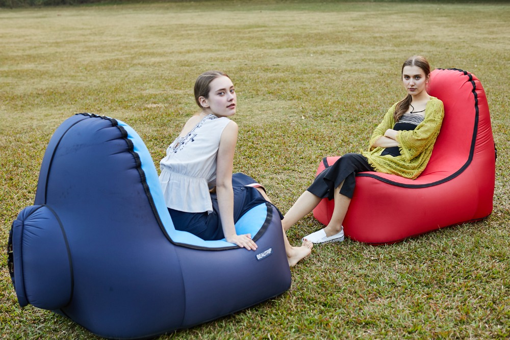 Image 2 - Indoor & Outdoor Hangout Inflatable Air Lounge Sofa Chair Living Room Bean Bag Lounger Camping Hiking Fishing Chairs Garden Sofa-in Garden Sofas from Furniture