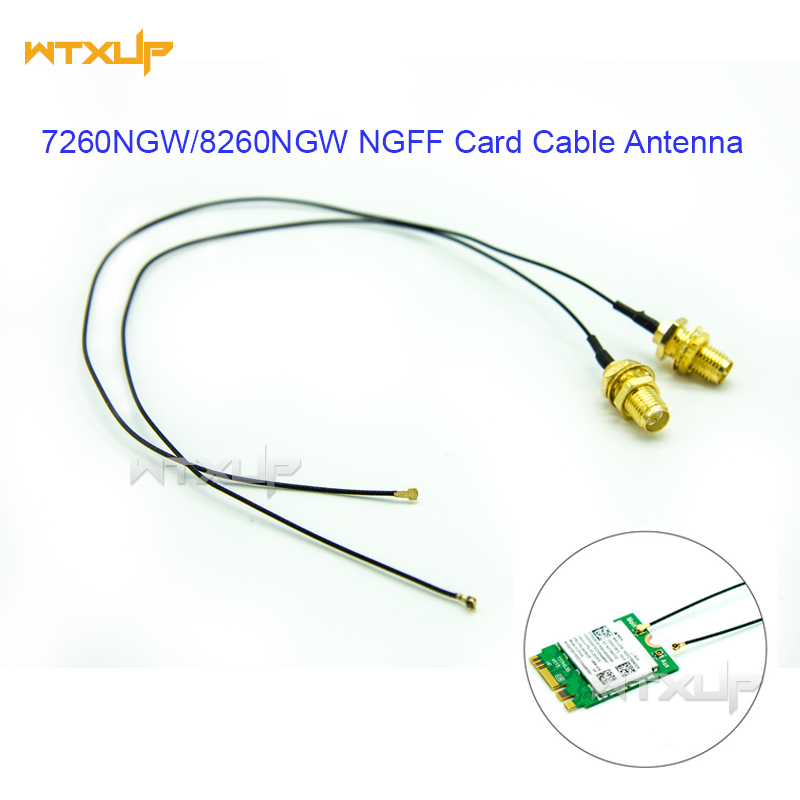 U.FL IPEX MHF4 to RP-SMA Pigtail Cable Antenna for NGFF M.2 9260 9560 8265 NGW 2pcs with antennas for Wifi wireless card/router(China)