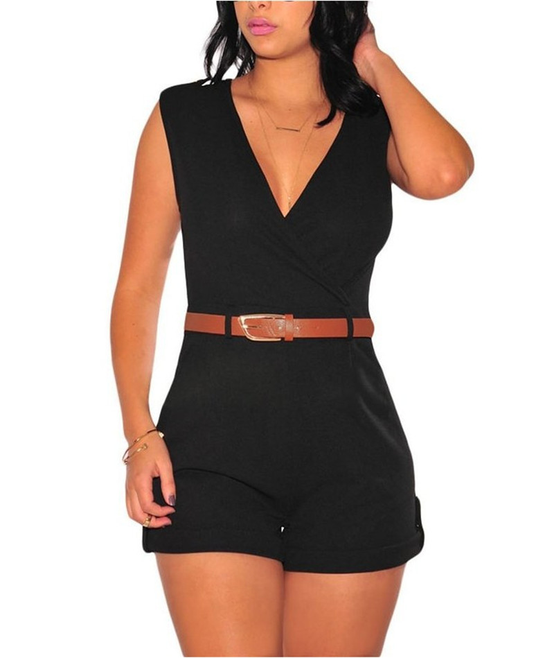 2020 Fashion Women Summer Bodysuit Romper Women Party Sexy Jumpsuits Sleeveless Deep V Neck Club Playsuits Overall with Belts