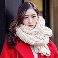 Amantes do inverno de fios cachecol feminino projeto longo espessamento térmica inverno cor sólida malha cachecol cachecol masculino