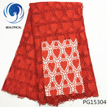 Beautifical african red lace fabric guipure cord latest design 5yards/piece for women PG153