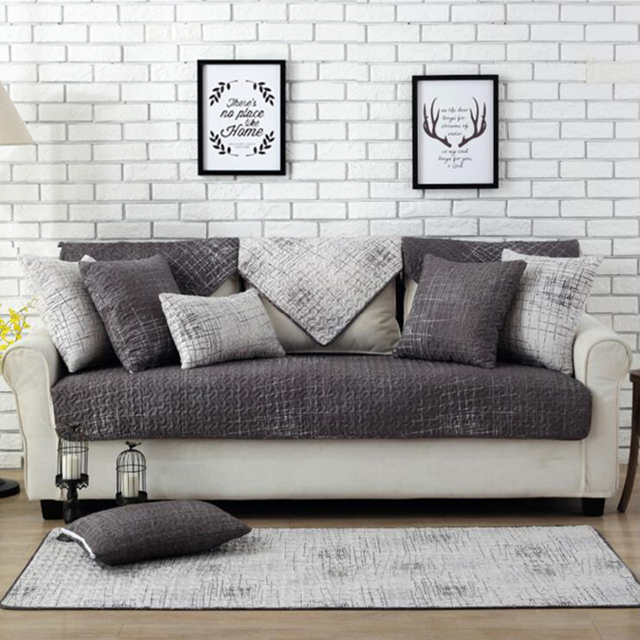 Europe Gray Cotton Sofa Cover Twill Slip Resistant Covers For Sectional Handmade Thick Quilting