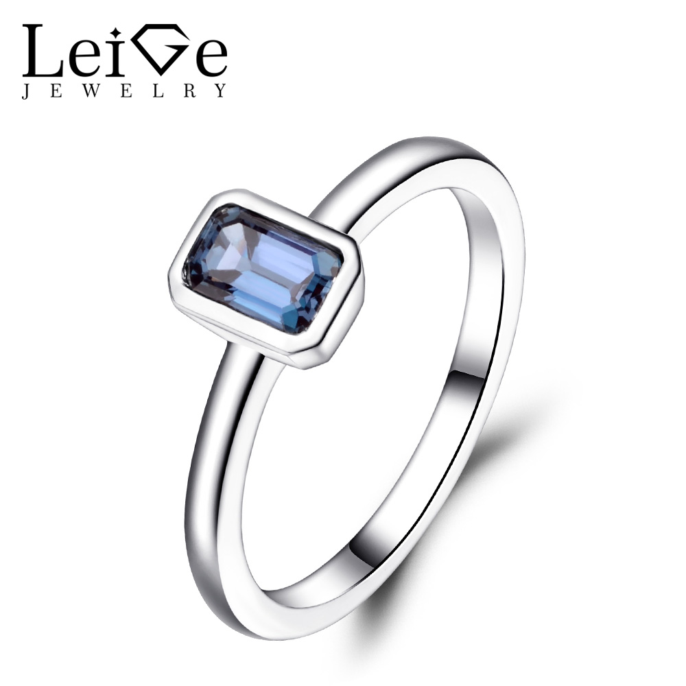 Leige Jewelry Lab Alexandrite Ring Sterling Silver 925 Gemstone Jewelry Bezel Setting Solitaire Ring Anniversary Gift for Women