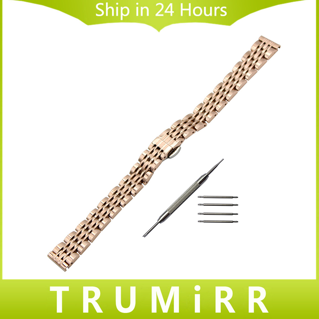 14mm Stainless Steel Watchband +Tool for Armani Fossil CK Timex Casio Lady Women Watch Band Butterfly Clasp Strap Wrist Bracelet