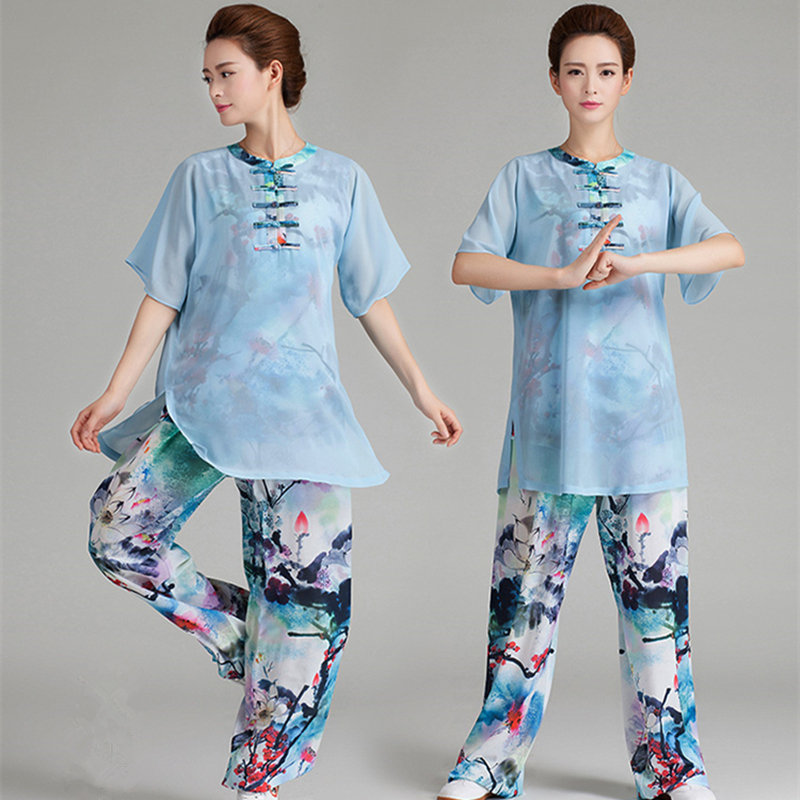 8 Colors Woman Breathable Floral Chinese Clothes Short Sleeves Tai Chi Clothing Yarn Kung Fu Uniform With Elastic Legs