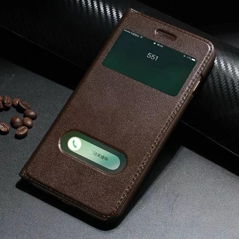Smart fönsterstyltelefonfodral för Apple iPhone 7 8 Plus-fodral Äkta Yak-läderfodral för iPhone7 Vändskydd