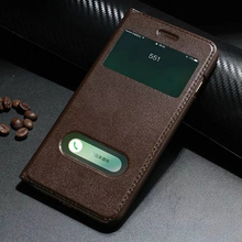 Smart window book style phone cover For Apple iPhone 7 8 Plus Case Genuine Yak Leather Cover for iPhone7 Flip protection Case