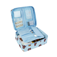 Women Cartoon Brown Bear Outdoor Travel hand Portable Cosmetic Makeup Toiletry Case Wash Organizer Storage Pouch Bag