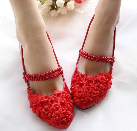 ФОТО 3CM low small heel red party  pumps shoes female ladies red wedding shoes lace flowers pearl beading bands TG241 parties shoes