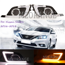 2Pcs Car-styling Day Light For Nissan Sentra 2016 2017 2018 LED Driving DRL With Daytime Running Light Turn Signal Fog Head Lamp цена в Москве и Питере