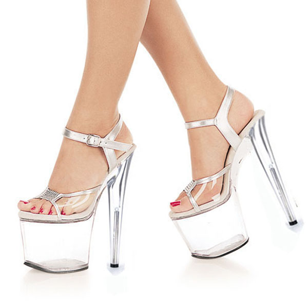 ФОТО 8 Inch clear Shoes Sexy Stripper Shoes 2016 Sexy 20cm Temptation Crystal sandals Platform Ultra High Thin Heels