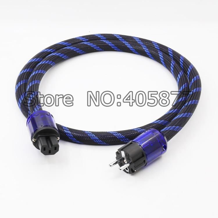 Salut-End Schuko UE Câble D'alimentation Cordon D'alimentation avec L'UE Plug Secteur Câble D'alimentation HIFI Audiophile Européenne AC Power câble