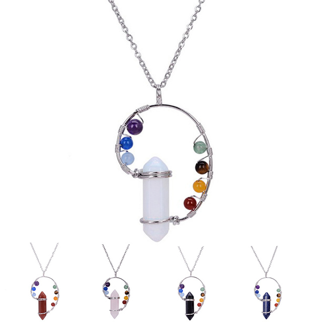 7 Chakra Natural Stone Bullet Pendants Necklace For Women Opal Quartz  Crystal Maxi Healing Rainbow Necklace Jewelry Gifts