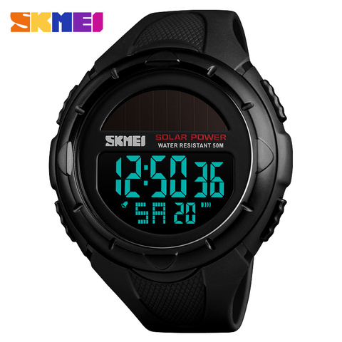 SKMEI Solar Power Men Sports Watches Waterproof LED Digital Watch Men Luxury Brand Electronic Mens Wrist Watch Relogio Masculino Lahore