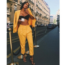 Women Pant Suits Yellow Slim Ladies Custom Made Business Office Tuxedos Formal W