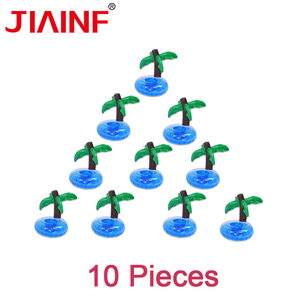JIAINF Pool Float 10 Pcs/lot Mini Coconut Tree Drinks Cup Holder Inflatable PVC Swimming Pool Recreation Water Summer Toys