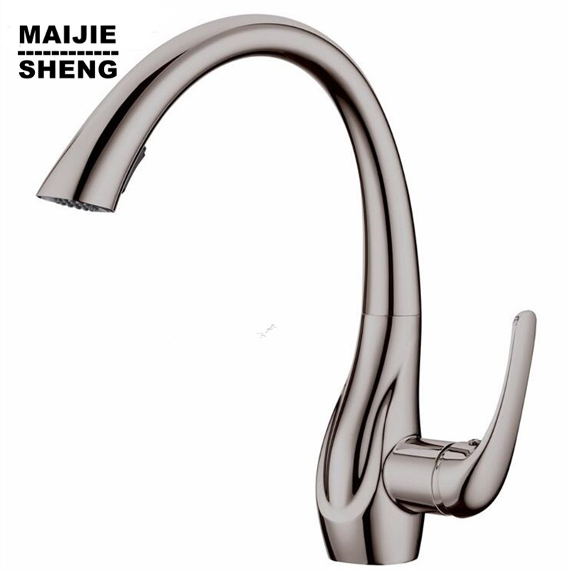 Brush nickel pull out kitchen faucet water tap kitchen with pull out shower kitchen mixer pull out torneiras