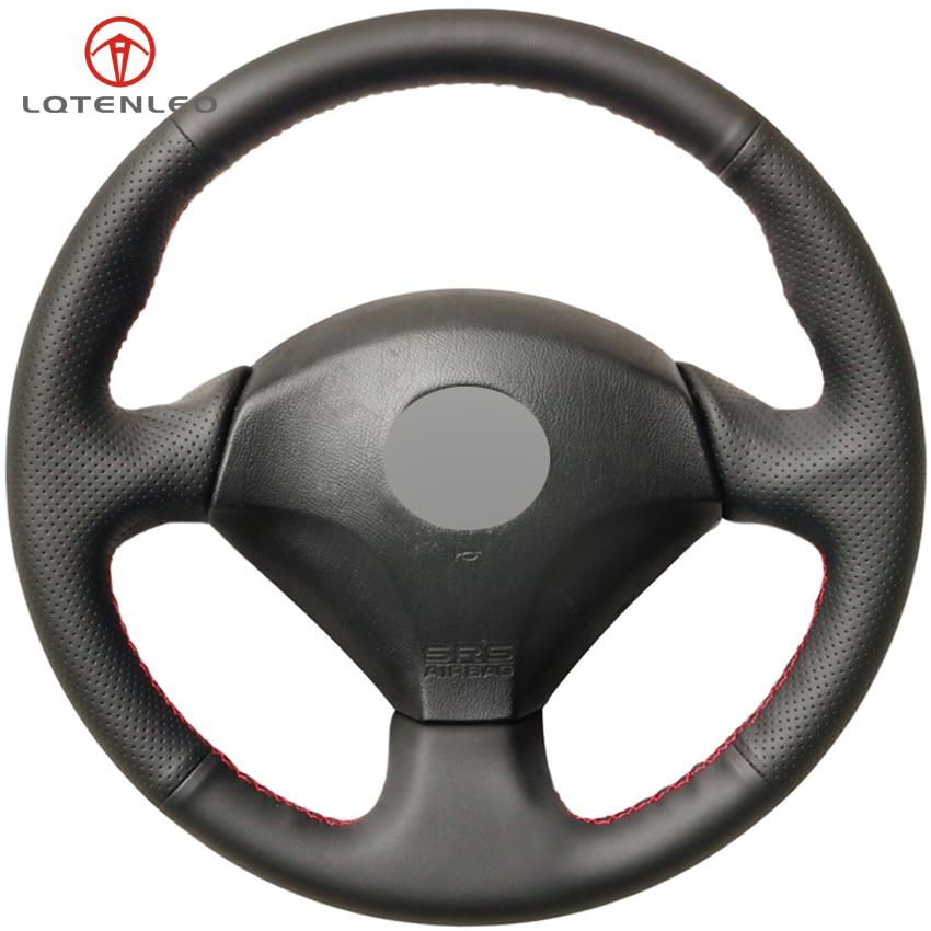 LQTENLEO Black Genuine Leather DIY Car Steering Wheel