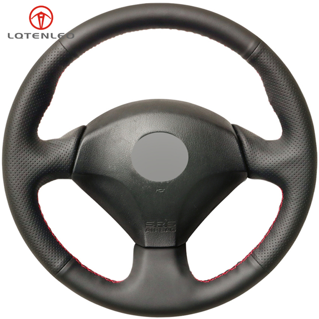 LQTENLEO Black Genuine Leather DIY Car Steering Wheel