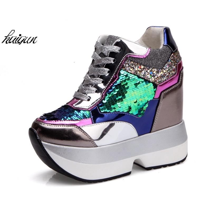Zapatos 13 Lentejuelas Cuero Libre 2018 Nuevo Cm Las Mujeres Cuña Tacón Señoras Oro Con Envío plata Adornado Bling Oculto De Talón I1vBI