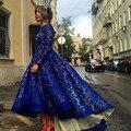 Venta caliente de la madre de la novia vestidos de encaje azul real con mangas largas ruffles alto bajo novia de la madre de la novia pant trajes