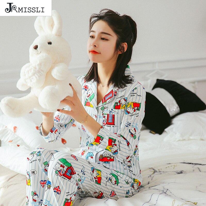 JRMISSLI 100% Cotton Vintage Sleepwear Women Casual Two Piece Set Autumn Full Sleeve Print Pajama Set Home Clothing