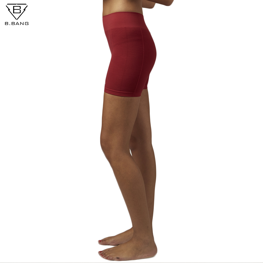 B. מפץ נשים מכנסי ספורט ריצת אימון כושר יוגה אלסטי מכנסיים קצרים מכנסיים קצרים נקבה 6 צבעים