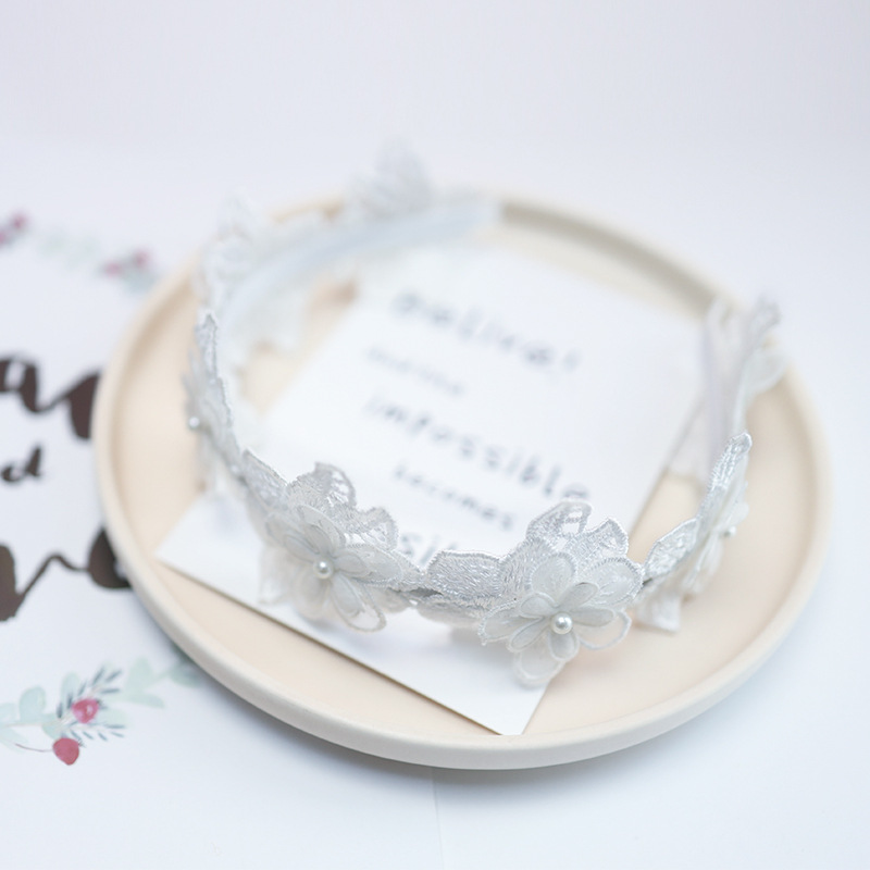 Korea Lace Flower Crown Head Band Hair Accessories lovely Embroidery Headband for Grils Hair Band Hair Bow Princess 4 in Hair Accessories from Mother Kids