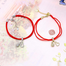 Creative Red Rope Bracelet For Woman Rose Gold Gourd Zinc Alloy Mascot Female Fringed Copper Money