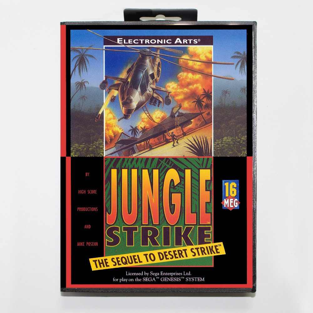16 bit Sega MD game Cartridge with Retail box - Jungle Strike game cart for Megadrive for Genesis system