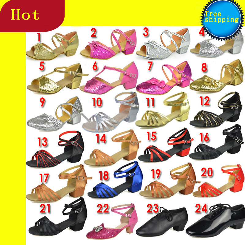 Sports Dance Shoes  Christmas Gift Ballroom Latin Dance Shoes For Children Kids Girl HEEL 3.5cm Satin Free Shipping Wholesale