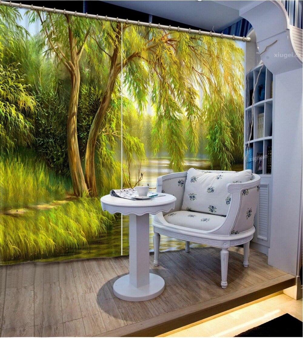 녹색 숲 커튼 창 공간 3D 창 커튼 침구 방 홈 장식