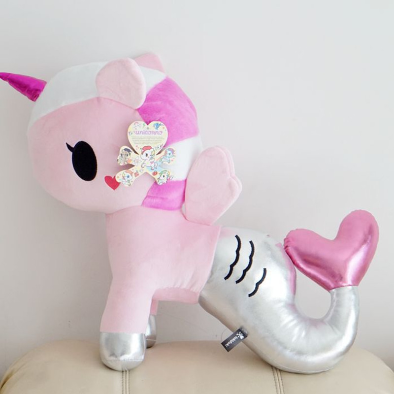 Large Cartoon Mermaid Unicorn Plush Toy Big Soft Stuffed Animals Doll Baby Pillow For Girls Children Kids Birthday Gifts cute large toy big size 1pcs 100cm sheep plush toy alpaca doll soft stuffed animals pillow cushion kids toy girls birthday gifts