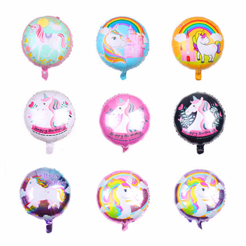 TSZWJ    New 18-inch round unicorn aluminum balloon Children's holiday party decoration toys High quality