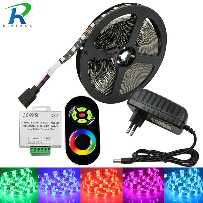 5M 10M Led Strip RGB SMD5050 RGB LED Strip Light 30LEDS/M 15M 20M Diode Tape LED Ribbon With RF Touch Remote Controller riri won smd5050 rgb led strip waterproof led light dc 12v tape flexible strip 5m 10m 15m 20m touch rgb controller adapter