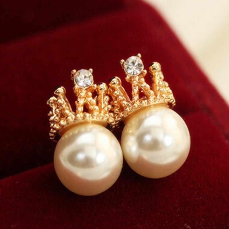 E0114 Fashion Jewelry Gold Color Crown Crystal Stud Earrings Sweet Romantic Pearl Stud Earrings For Women Wholesale High Quality