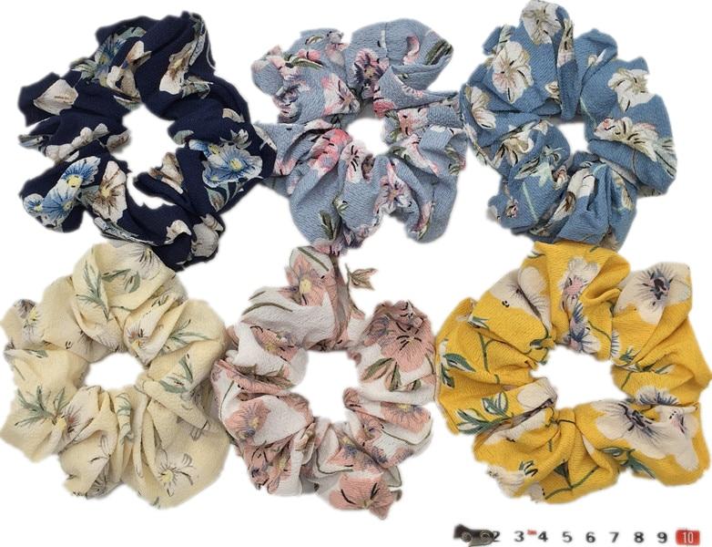 6 шт/лот Бархатные эластичные резинки для волос, резинки для волос для девочек, не складываются, леопардовые женские большие мелкие блестки из шифона с цветочным рисунком - Цвет: PJ083-6PCS