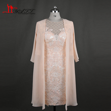 2017 New Arrival Elegant Lace Mother of the Bride Dress with Jacket 3 4 Sleeves Beading