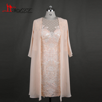 2017 New Arrival Elegant Lace Mother of the Bride Dress with Jacket 3/4 Sleeves Beading Applique Women Formal Evening Party Gown